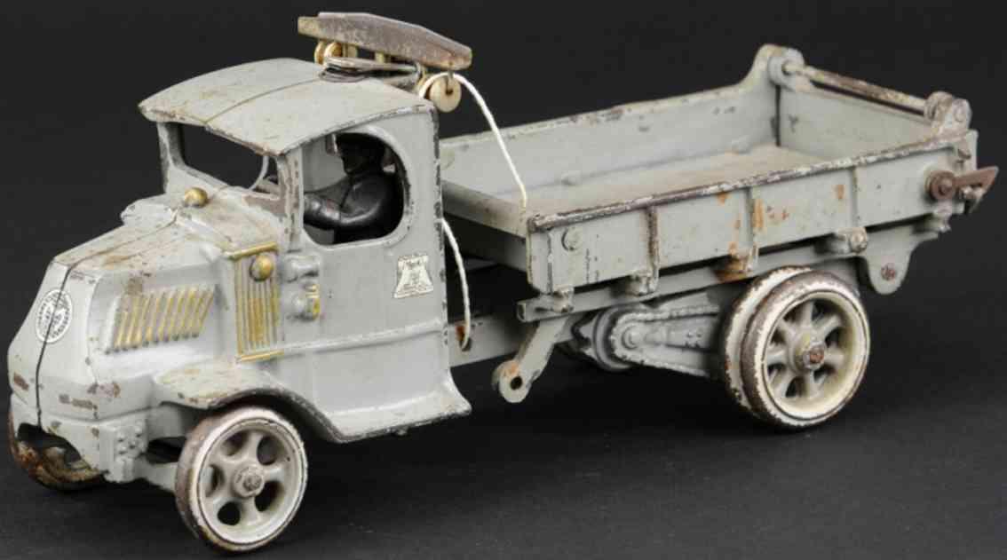 arcade cast iron toy dump truck grey t bar
