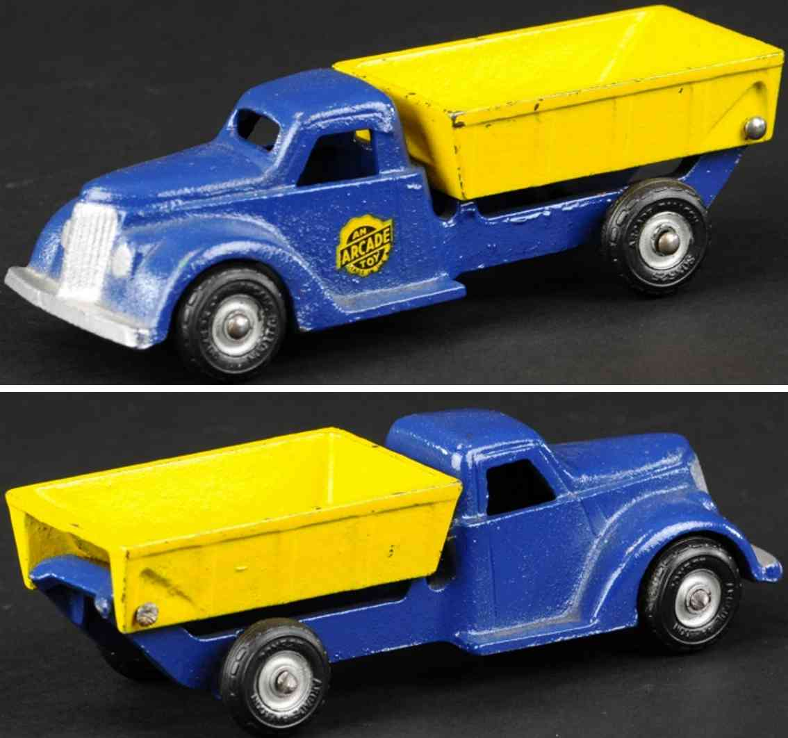 arcade cast iron toy truck dump truck  blue yellow