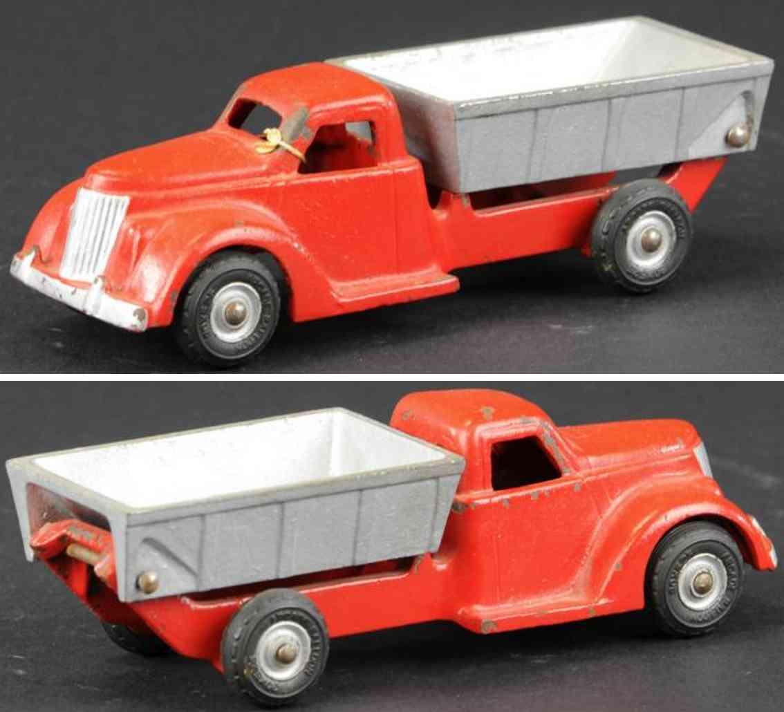 arcade vast iron toy dump truck red silver