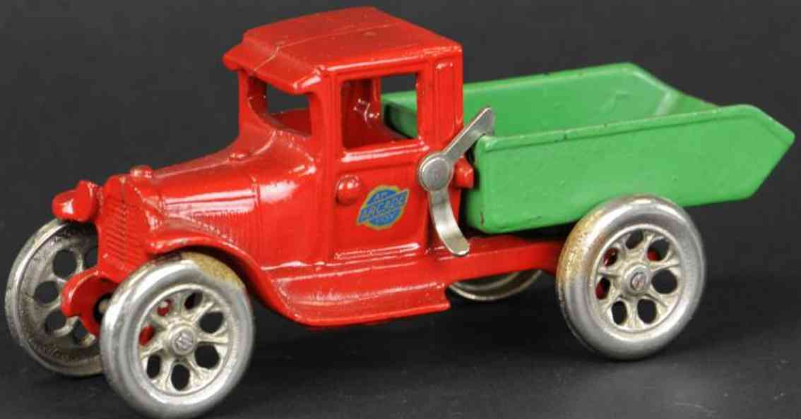 arcade cast iron toy truck dump truck ford model a red green