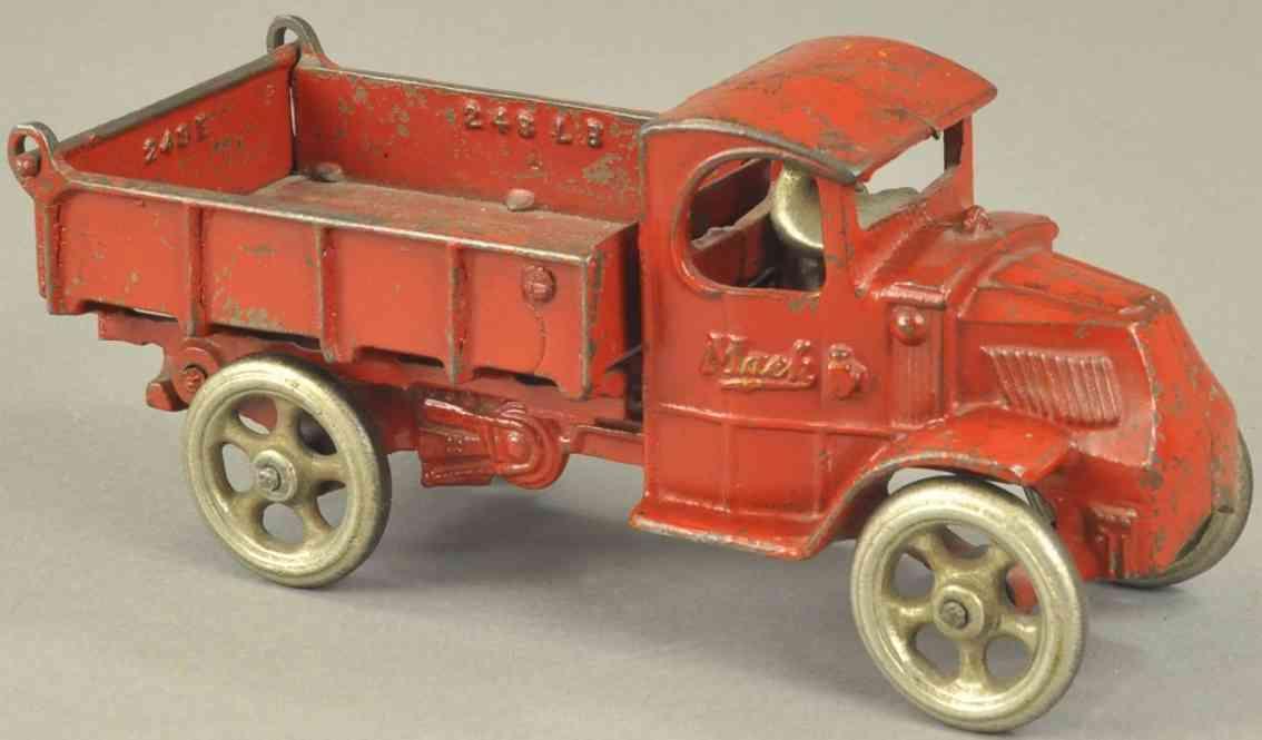 arcade 248 spielzeug gusseisen mack kipplastwagen rot