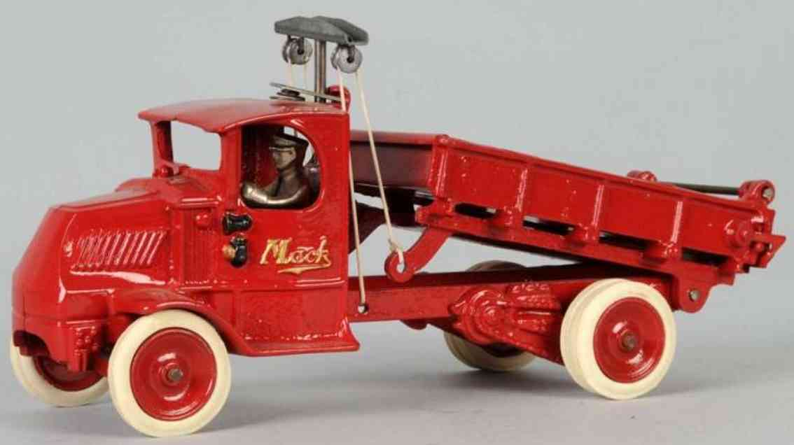 arcade cast iron toy mack dump truck red