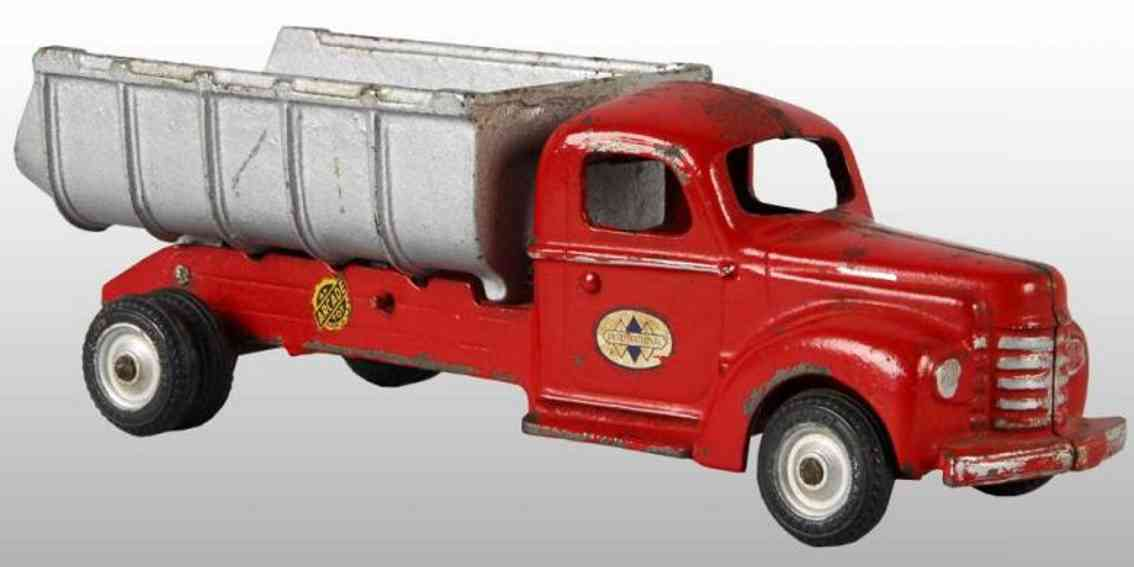 arcade cast iron toy internationl dump truck red
