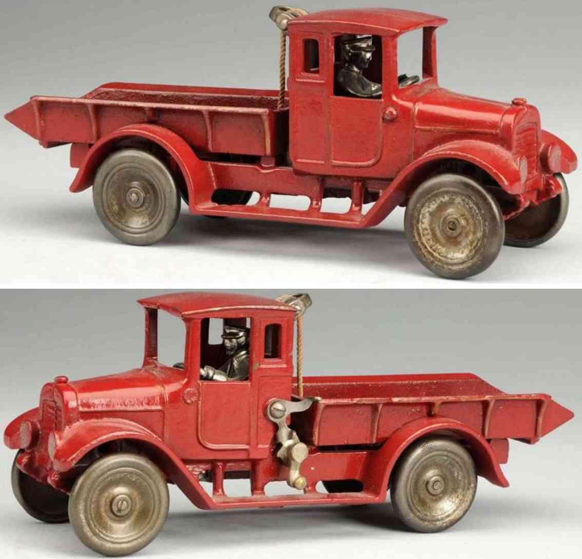 arcade spielzeug gusseisen kipplastwagen rot