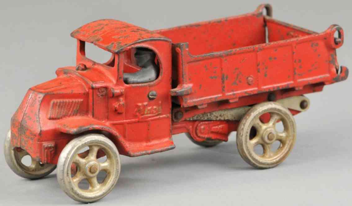 arcade cast iron toy mack scissor dump truck red