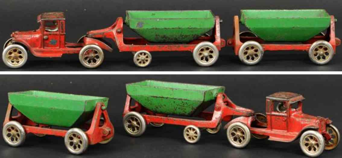 arcade cast iron toy truck side dump trailer red green
