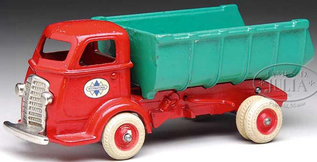 arcade cast iron toy international dump truck red green