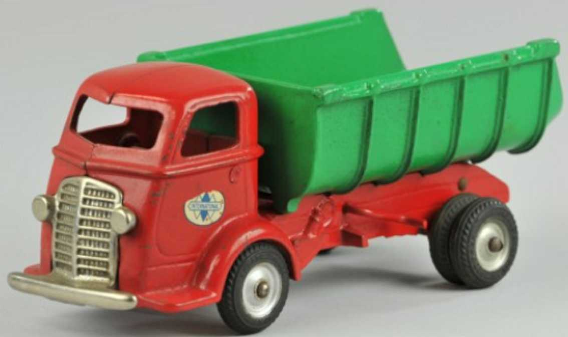 arcade cast iron toy dump truck red