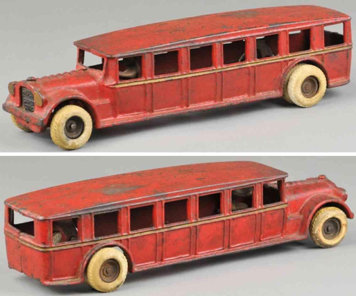 arcade cast iron toy faegol bus red