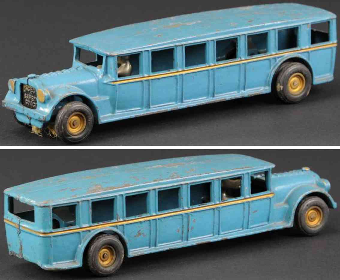 arcade cast iron toy bus fageol safety coach blue driver