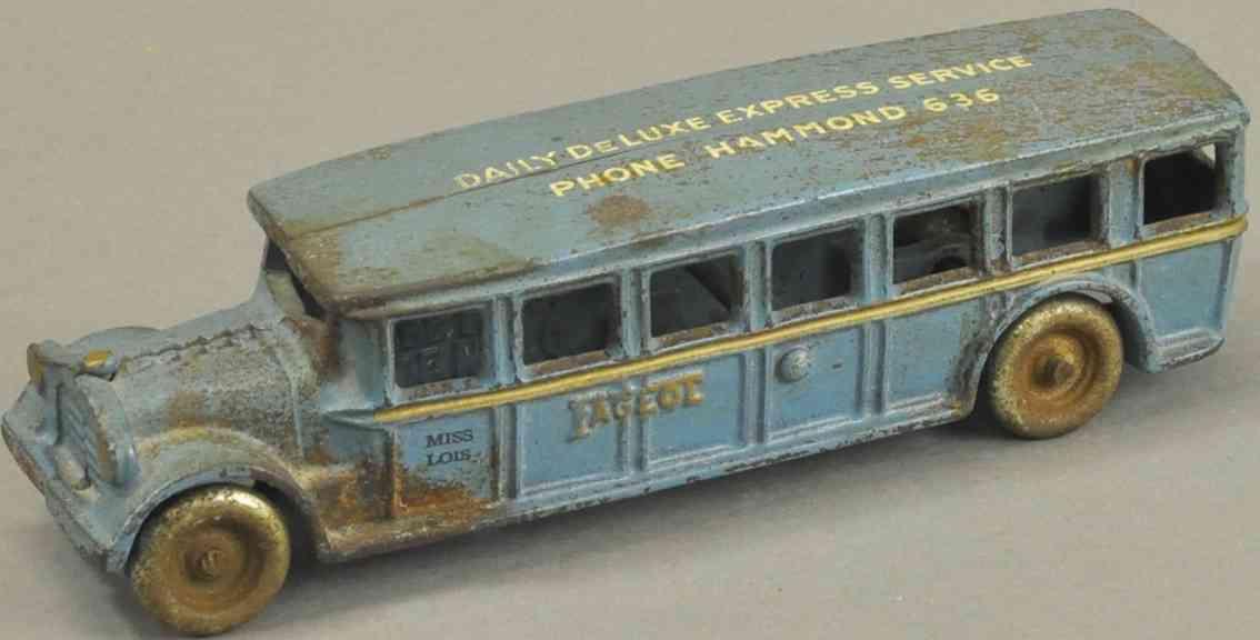arcade spielzeug gusseisen fageol bus mit werbung blau