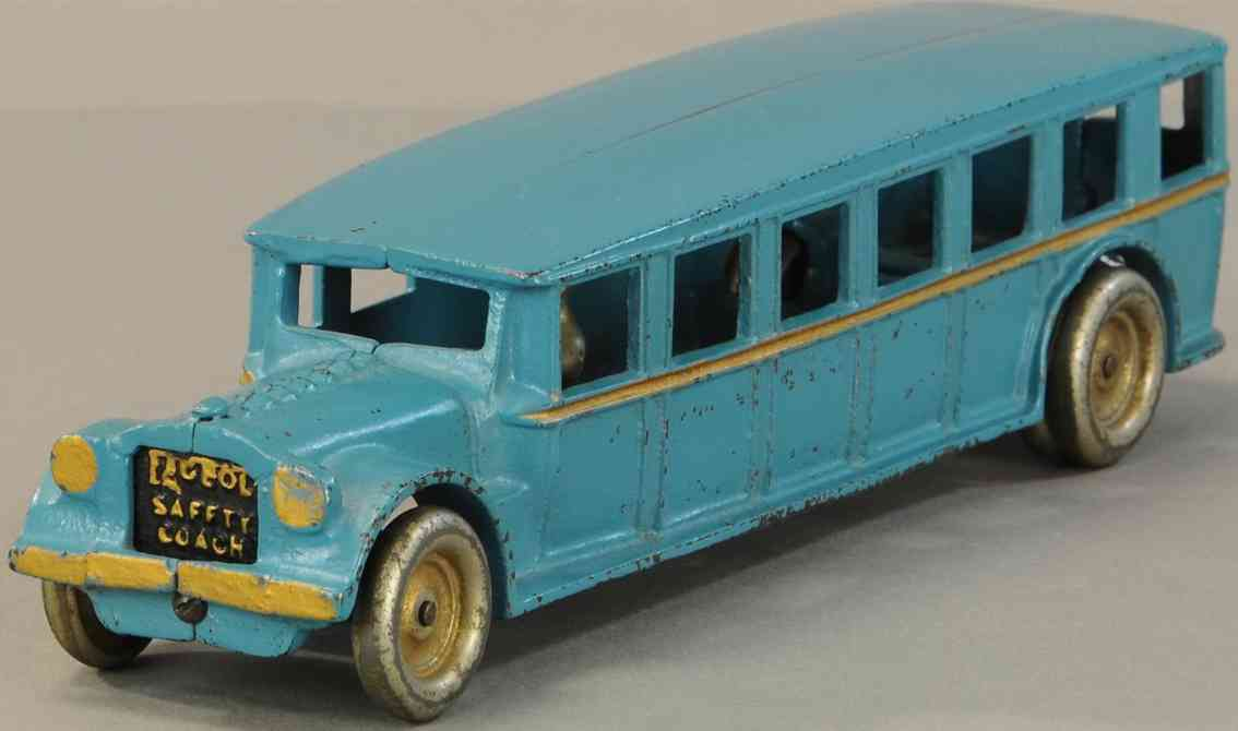 ade cast iron toy fageol bus blue