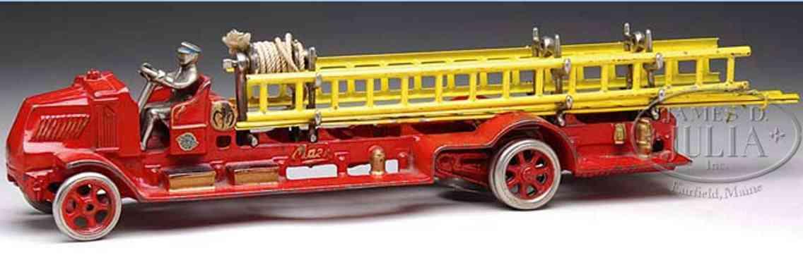 arcade spielzeug gusseisen mack feuerwehrleiterwagen