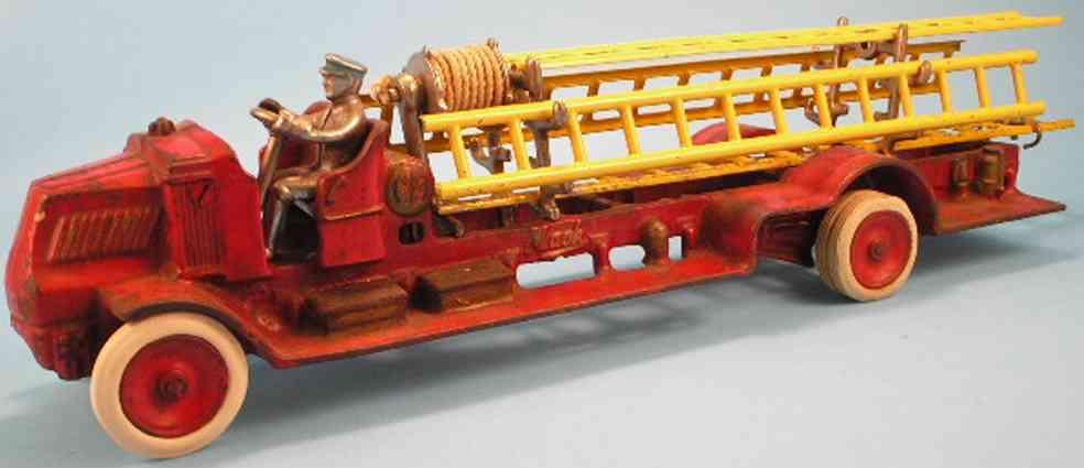 arcade 242 spielzeug gusseisen feuerwehrleiterwagen
