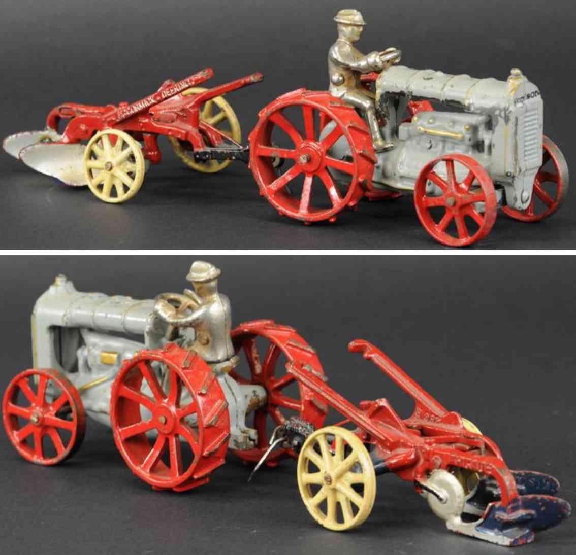 arcade gusseisen fordson traktor pflug  grau rot