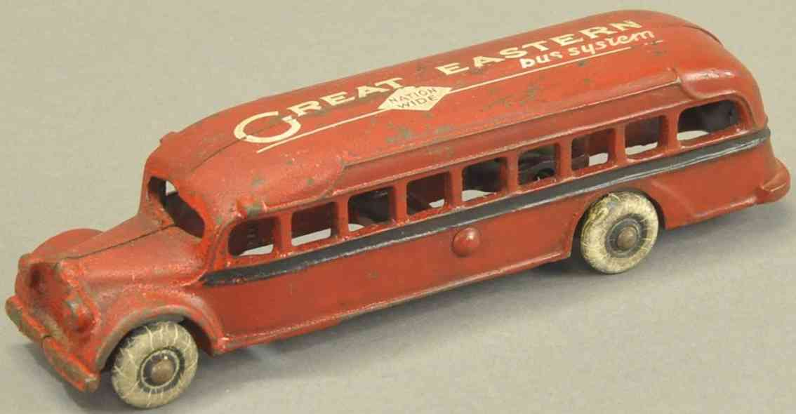arcade spielzeug gusseisen bus great eastern rot