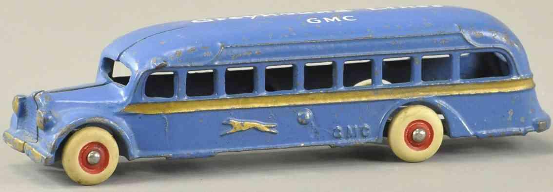 arcade spielzeug gusseisen bus greyhound lines gmc bus blau