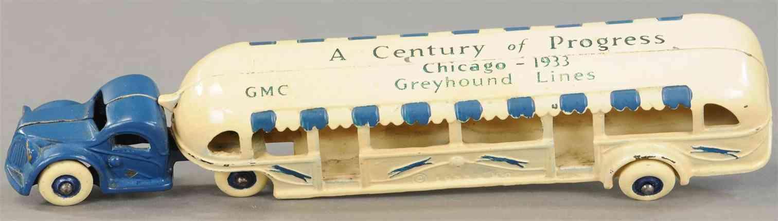 arcade gusseisen bus  a century of progress chicago 1933 greyhound lines gmc