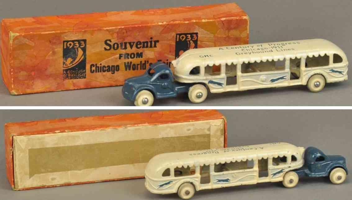 arcade spielzeug gusseisen besichtigungsbus century of progress gmc souvenir