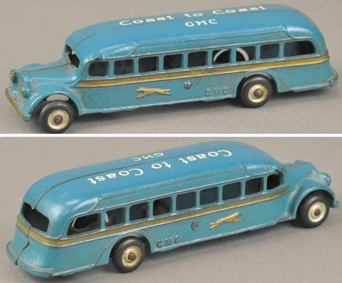 arcade spielzeug gusseisen gmc greyhound bus blau