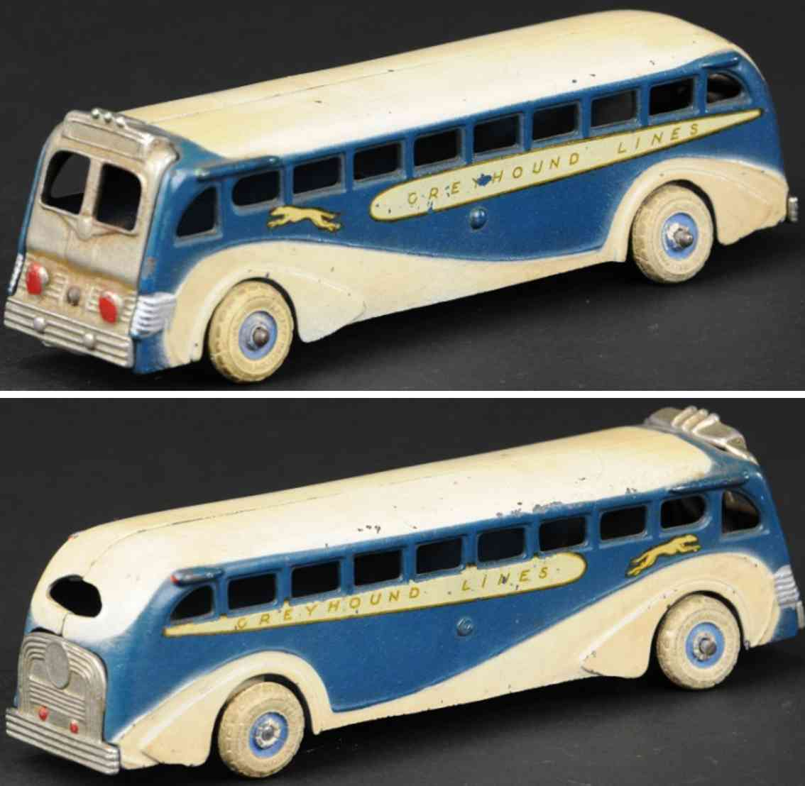 arcade gusseisen greyhound bus blau weiss