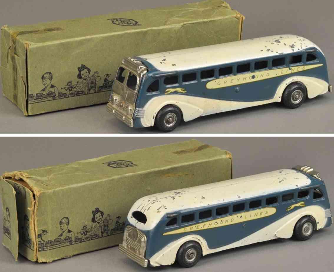 arcade spielzeug gusseisen bus greyhound weiss blau
