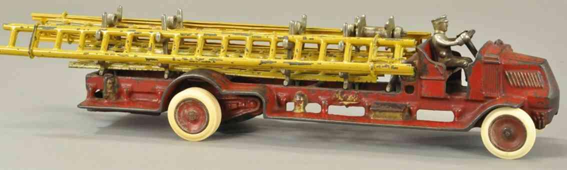 arcade spielzeug gusseisen feuerwehrleiterwagen