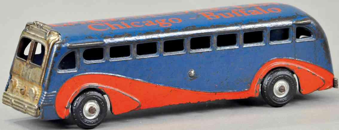 arcade spielzeug gusseisen bus rot blau lake shore line chicago buffalo