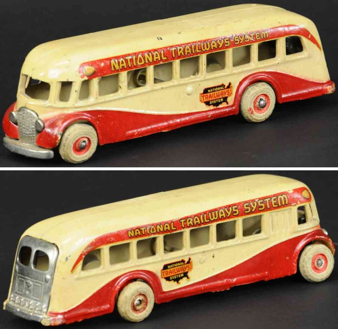 arcade national trailway spielzeug gusseisen bus creme rot