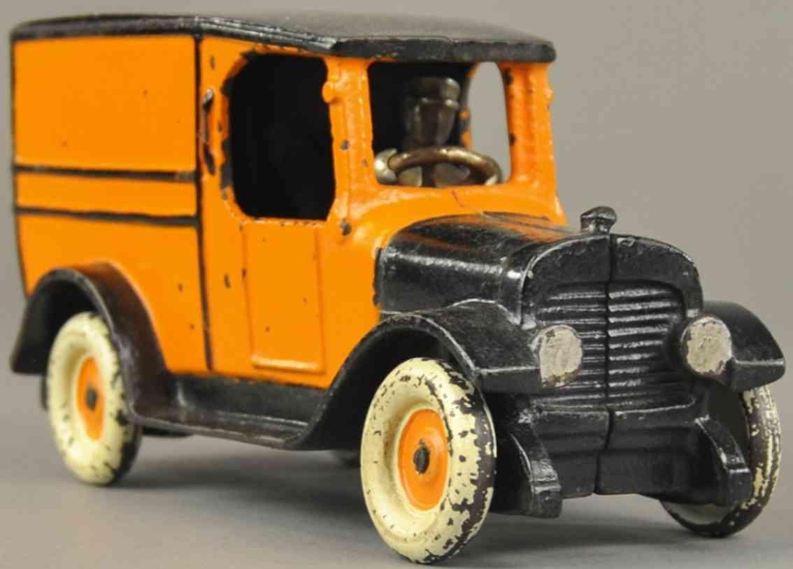 arcade spielzeug gusseisen taxi als kastenwagen orange schwarz
