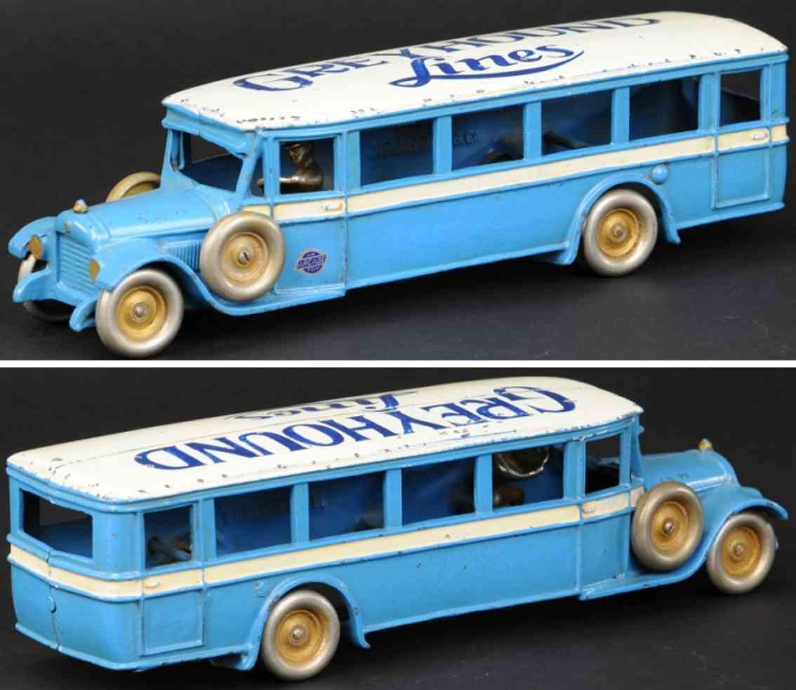 arcade spielzeug gusseisen salon reisebus blau