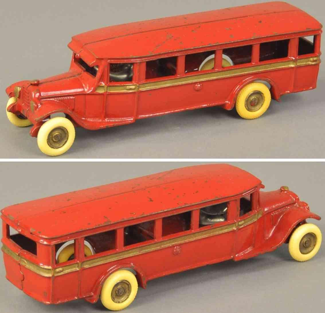 arcade spielzeug gusseisen reisebus  rot