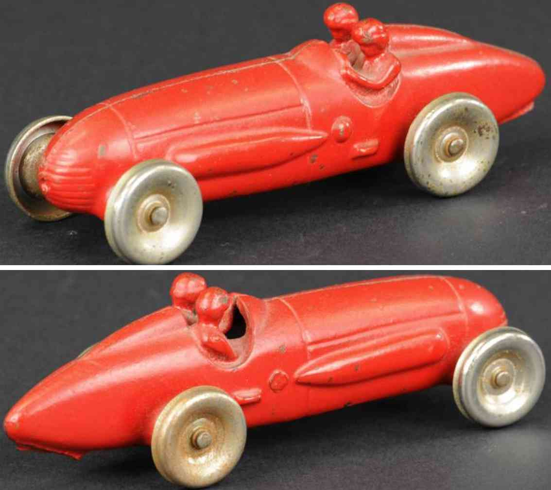 arcade spielzeug gusseisen rennauto rennwagen rot beifahrer
