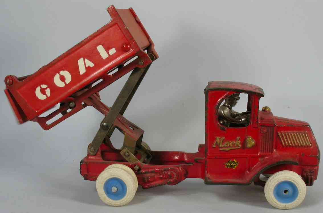 Arcade cast iron Mack C cab coal truck toy in red