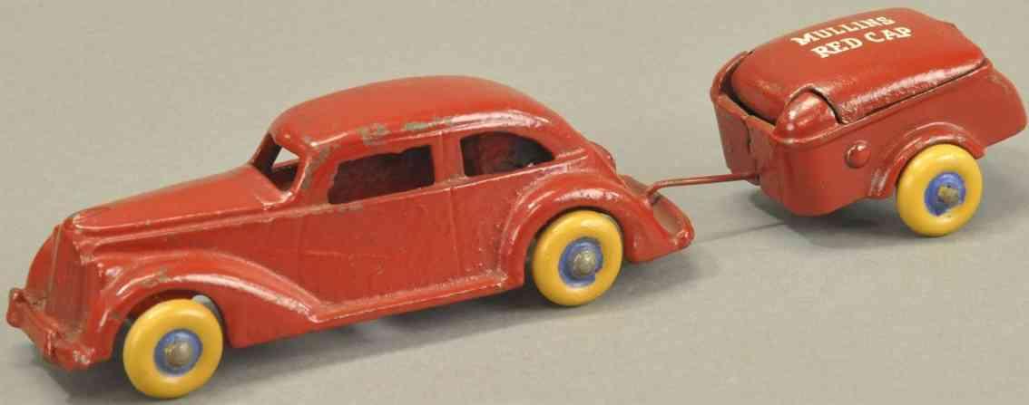 arcade spielzeug gusseisen auto mit anhaenger rot