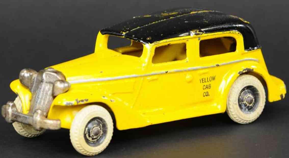 arcade spielzeug gusseisen auto parmalee taxi gelb schwarz