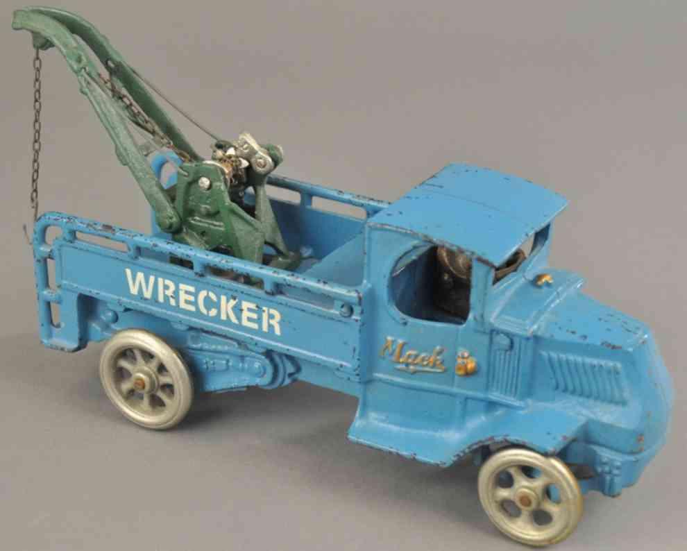 arcade spielzeug gusseisen abschleppwagen blau kran gruen