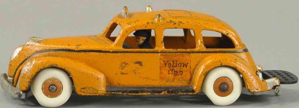 arcade spielzeug gusseisen auto taxi orange fahrer