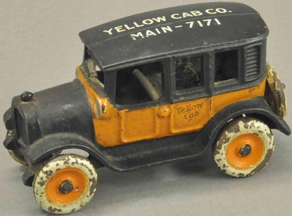 arcade spielzeug gusseisen auto taxi yellow car main 7171 orange schwarz
