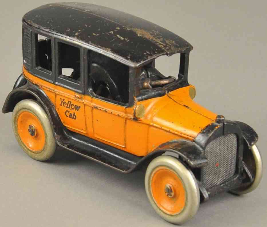 arcade spielzeug gusseisen taxi dppelstreifen orange schwarz