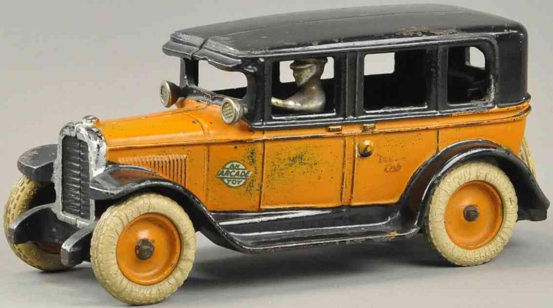 arcade spielzeug gusseisen auto taxi flachdach orange schwarz