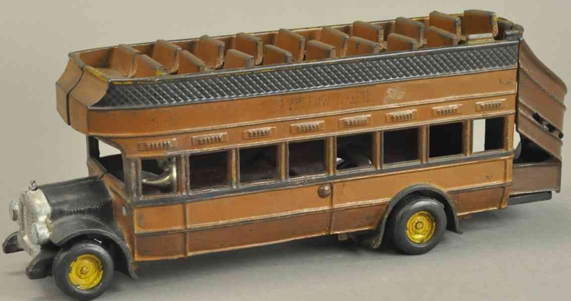 arcade 40 gusseisen doppeldeckerbus braun