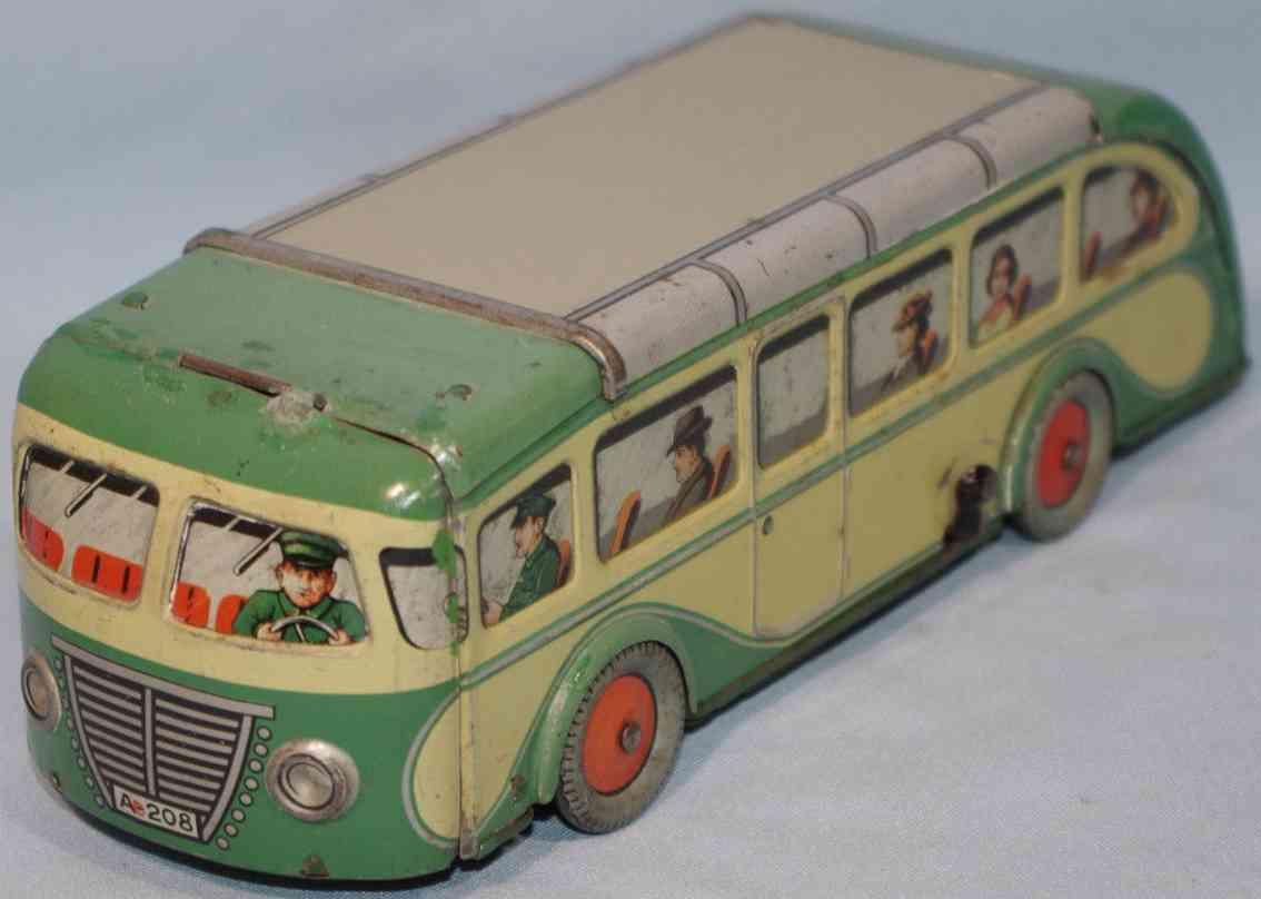arnold 208 blech spielzeug reisebus ohne antrieb gruen gelb