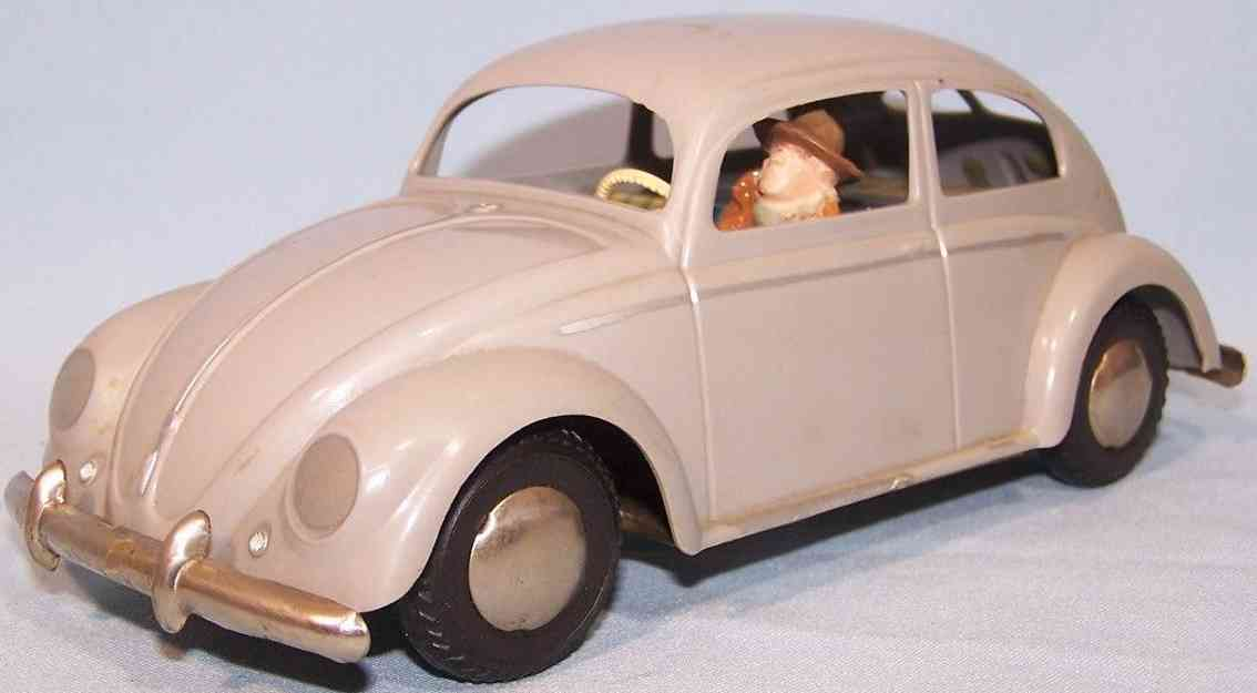 arnold 4000 grau tin plastic toy car pretzel beetle gray driver