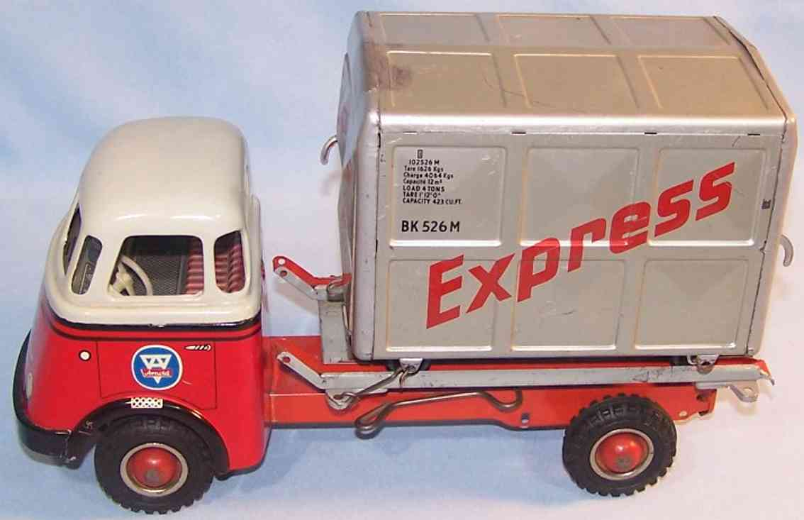 arnold 678 daf truck with flywheel drive and express container red