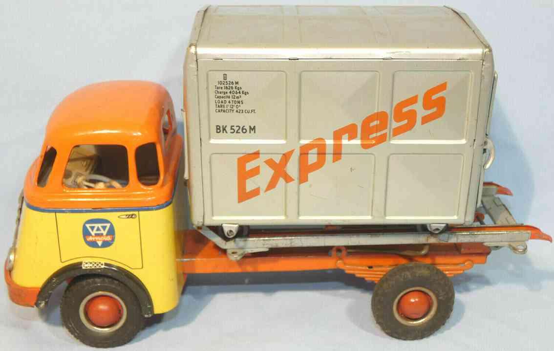 arnold 678 daf lastwagen mit schwungradantrieb und express container gelb