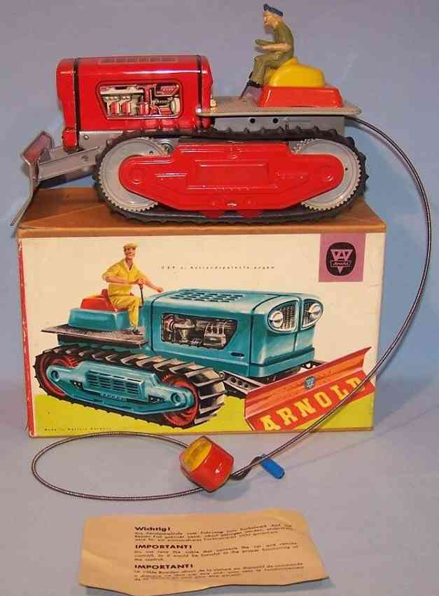 arnold 7900 tin toy bulldozer with spiral crank red