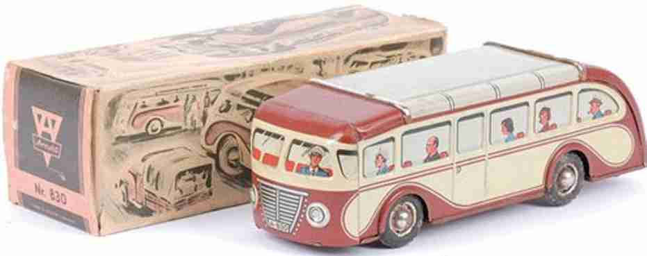 arnold 830 tin toy single decker bus with flywheel drive