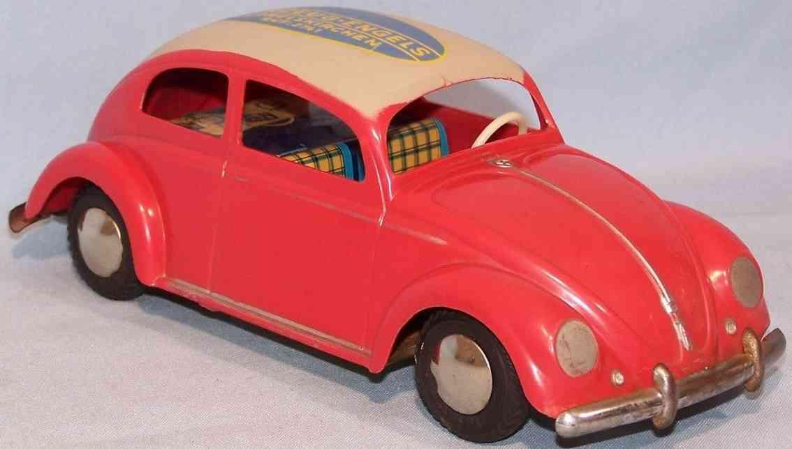 arnold 4000 blech spielzeug auto brezel-kaefer friktionsantrieb rot engels