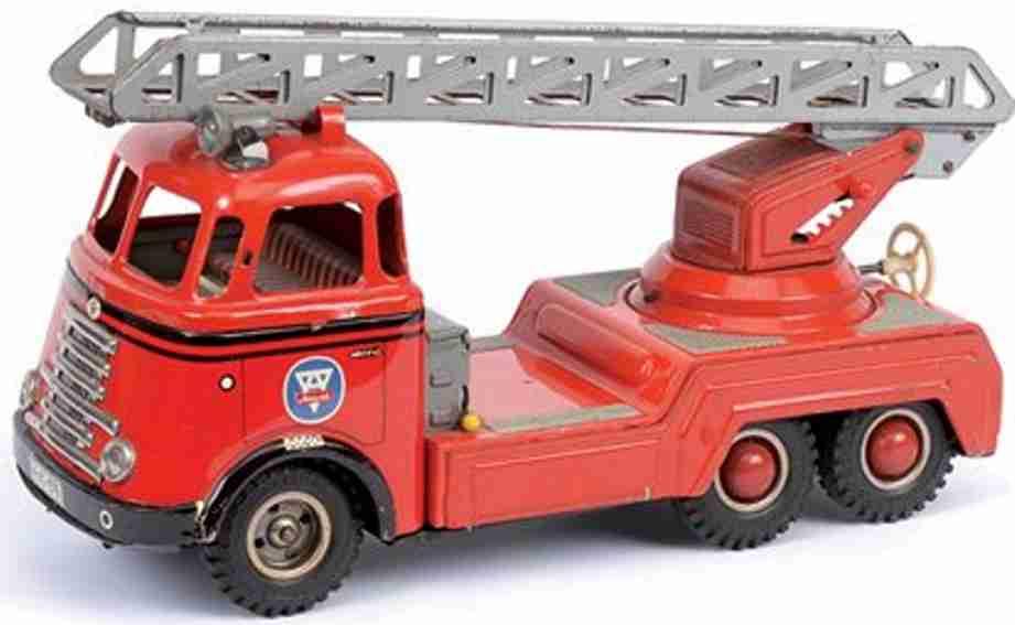 arnold blech spielzeug feuerwehr feuerwehrleiterwagen batteriebetriebener scheinwerfer, litho